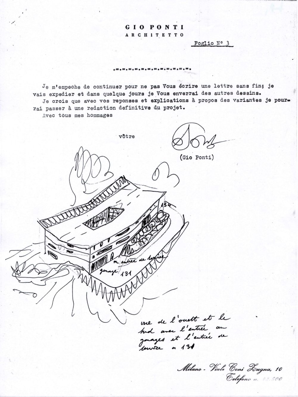 archival drawing of the first letter to Anala y Armando Planchart used for El Cerrito