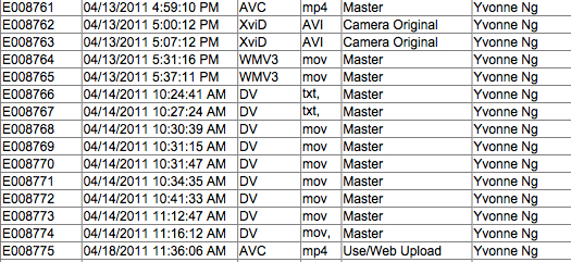 A sample acquisition log from a media management system.