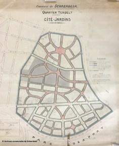 Plan van de cité-jardin van de buurt van Terdelt in Schaarbeek (1920)