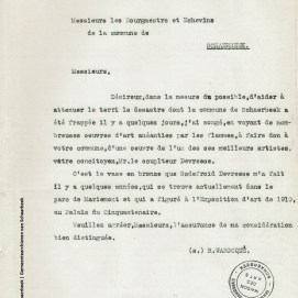 Lettre de Raoul Warocqué, 26 avril 1911, fonds Beaux-arts, ACS | Brief van Raoul Warocqué, 26 april 1911, Schone Kunst Archieven, GAS