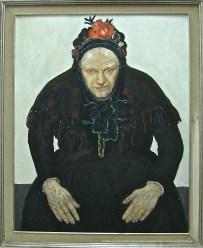 Constand MONTALD, Portrait de vieille paysanne, détrempe sur carton, s.d., 108x88cm, collection du Musée communal de Woluwe-Saint-Lambert