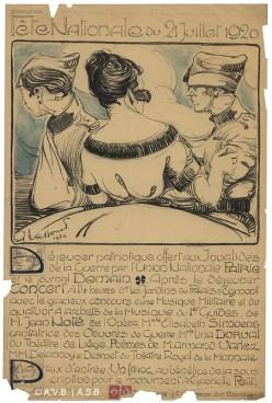 Programme des festivités, affiche, 1920, collection iconographique (Affiches 1422), Archives de la Ville de Bruxelles | Programma van de feestelijkheden, affiche, 1920, iconografische verzameling (Affiche 1422), Archief van de Stad Brussel
