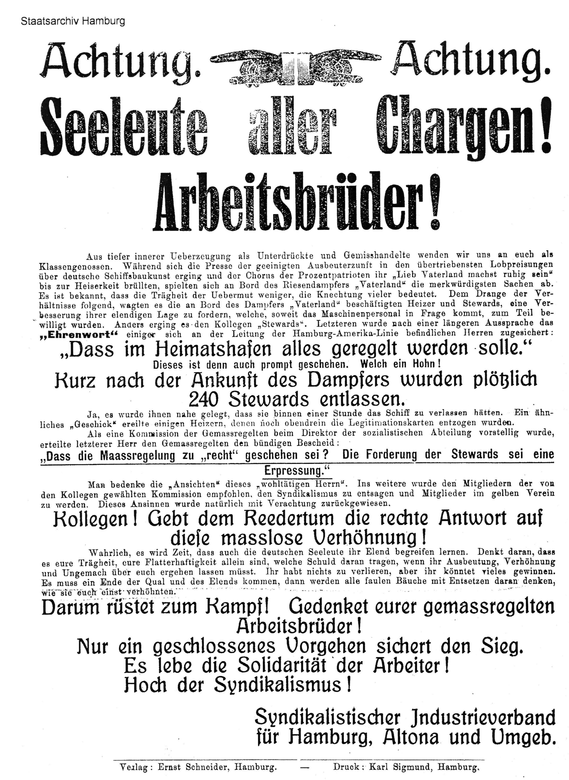 Flugblatt des Syndikalistischen Industrieverbandes