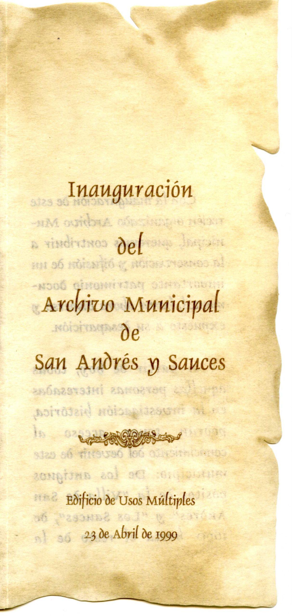 1. Programa de la inauguración del AMSAYS · San Andrés y Sauces