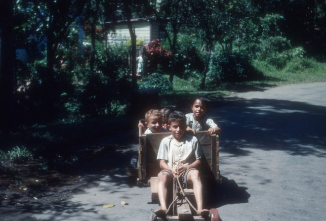 """""""Neighbor boys on road in typical wagon""""<br>Wesley Whiteside - 1950's"""