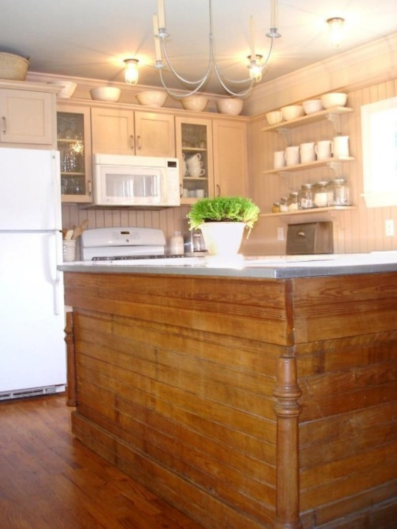 A Kitchen Island from Old Hardware Store Counter