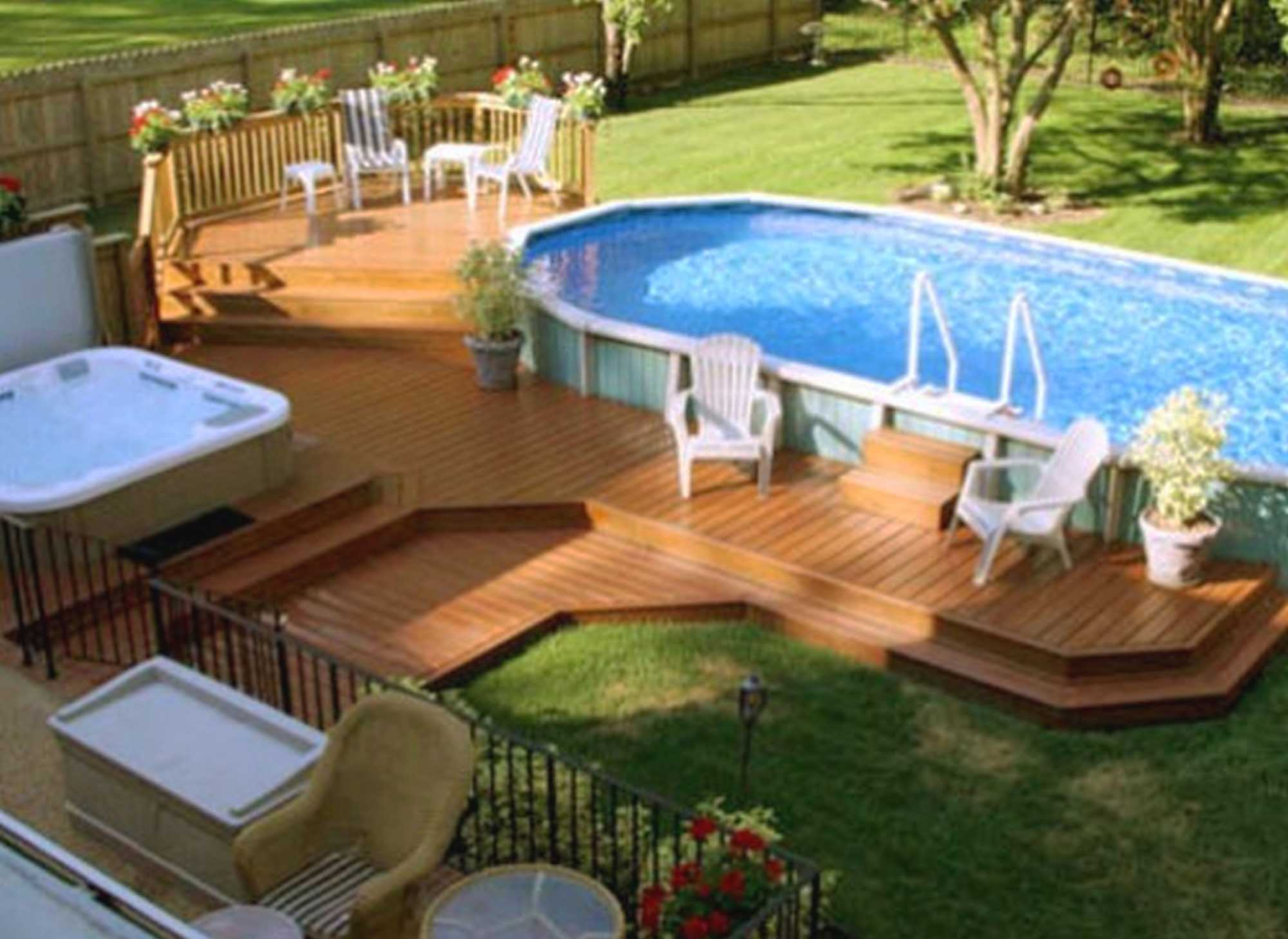 15 Above Ground Pool Ideas That are Unbelievably ... on Patio Ideas Around Pool id=39363