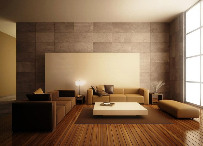 Brown Minimalist Living Room