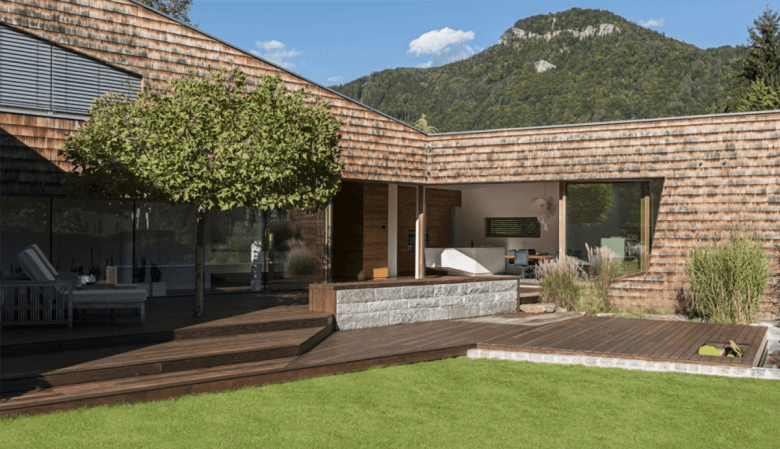 The Multi-Level Decks with A Built-In Seating and a Relaxing Landscape