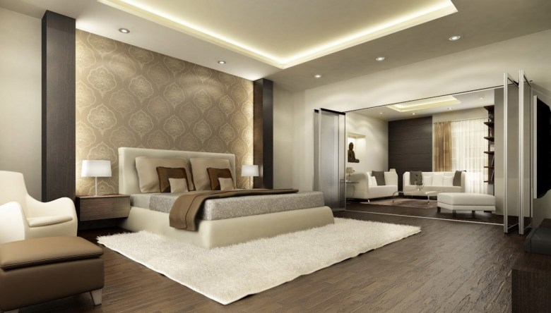 White and Beige Modern Master Bedroom