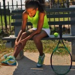 An image of a tennis player with shin splints