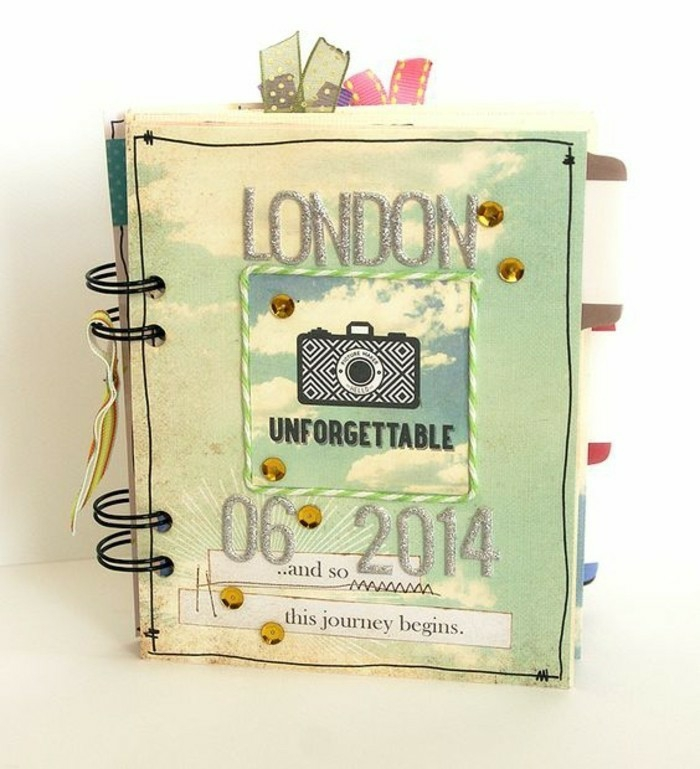 adventure journal, notebook with black binding, light-green and yellow cover, silver glitter writing saying London 06 2014