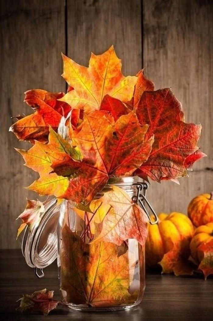 beautiful thanksgiving pictures, a clear jar, containing red, yellow, green and orange leaves, on a wooden table, with autumn leaves, pumpkins and brown planks in the background