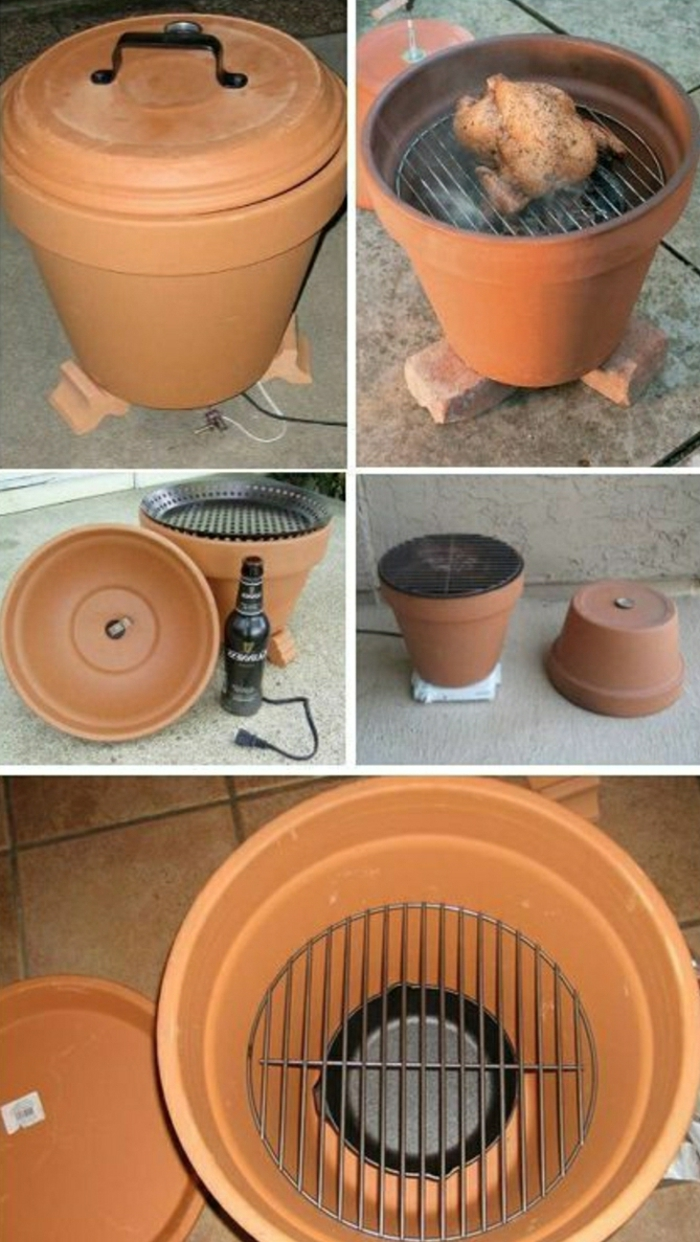 diy barbecue grill made from an orange terracott pot, grilled chicken, beer bottle