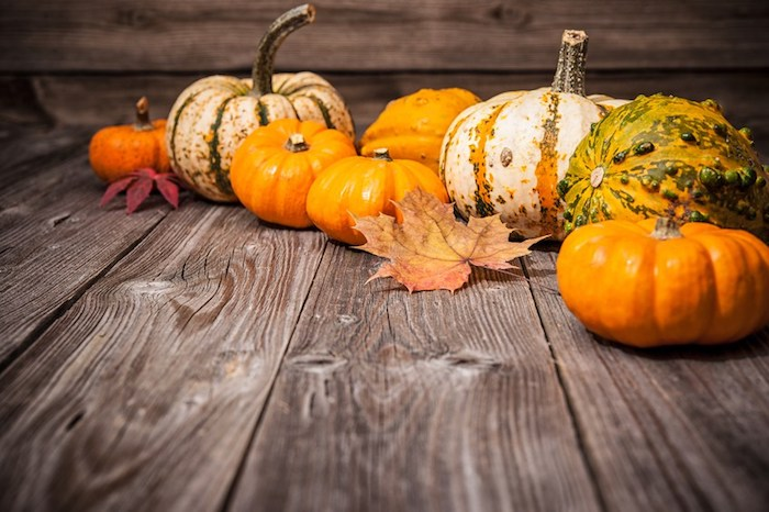 pumpkins of different shapes, colors and sizes, on a wooden floor, with two autumn leaves in red and orange, brown background