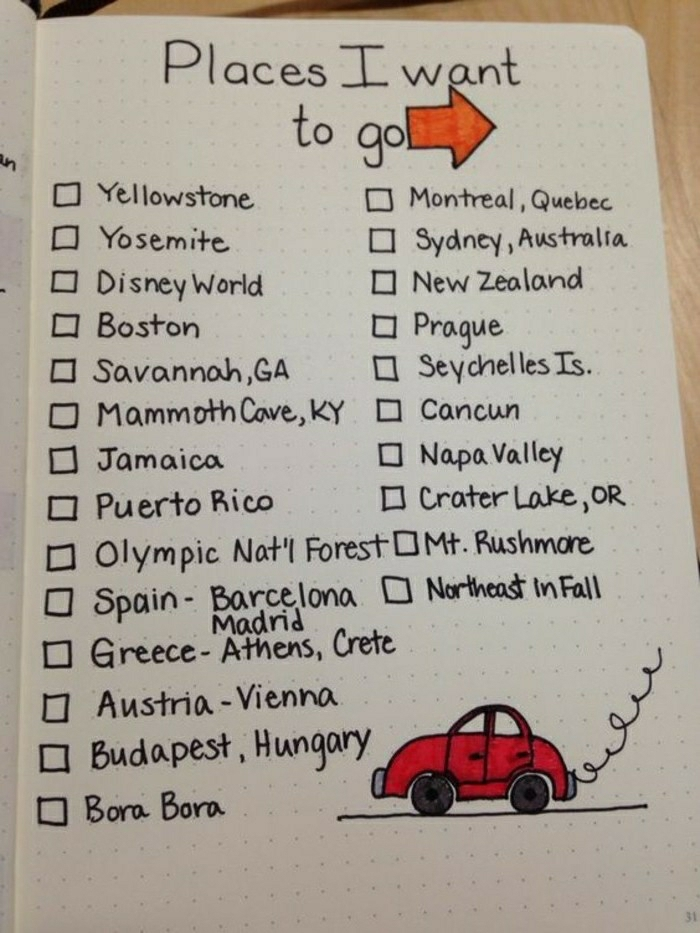 travel journal, dotted white page, black writing, list of places, squares to tick, red drawing of car and red arrow, wooden background
