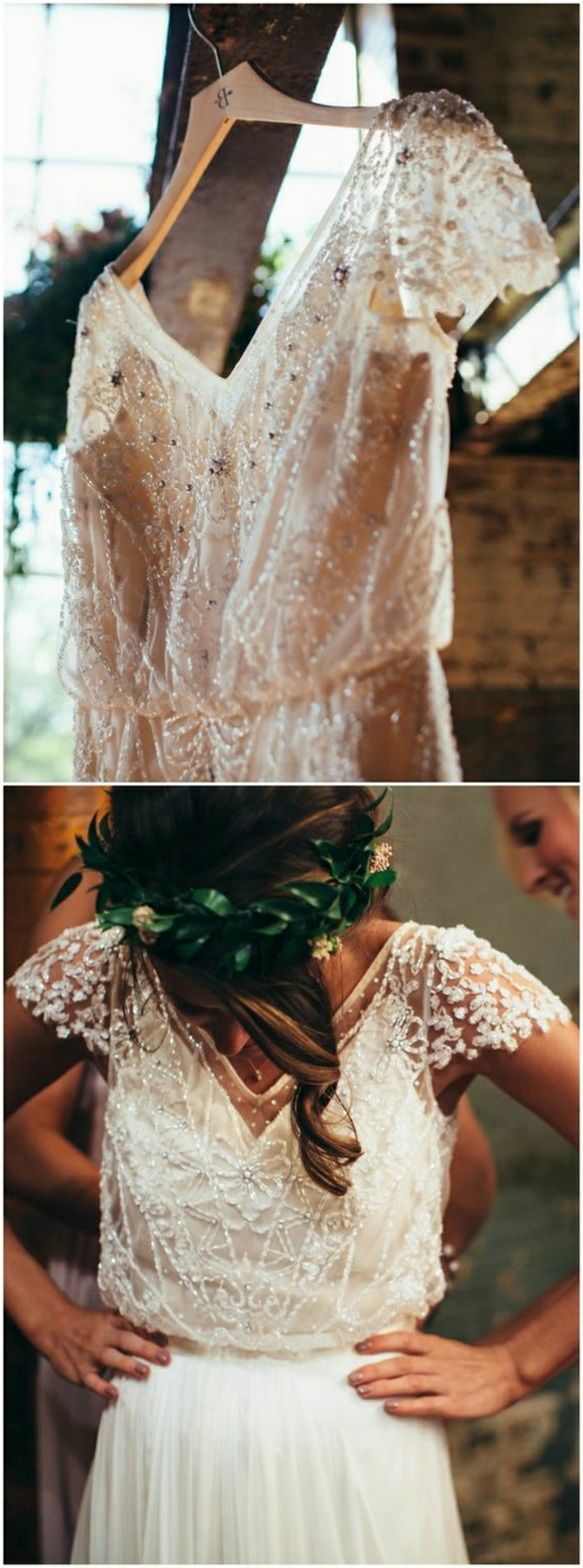 unique wedding dresses, two images of a white wedding dress, one on a hanger with a close up on its beaded and embroidered details, one on a brunette woman looking down with hands on hips