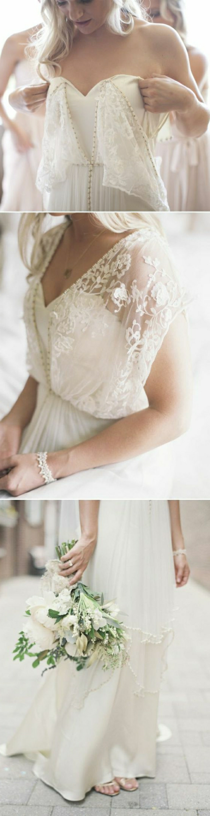 three close-ups of a wedding dress with lace details, worn by a blonde young bride, with a white bracelet, holding a bouquet of white flowers