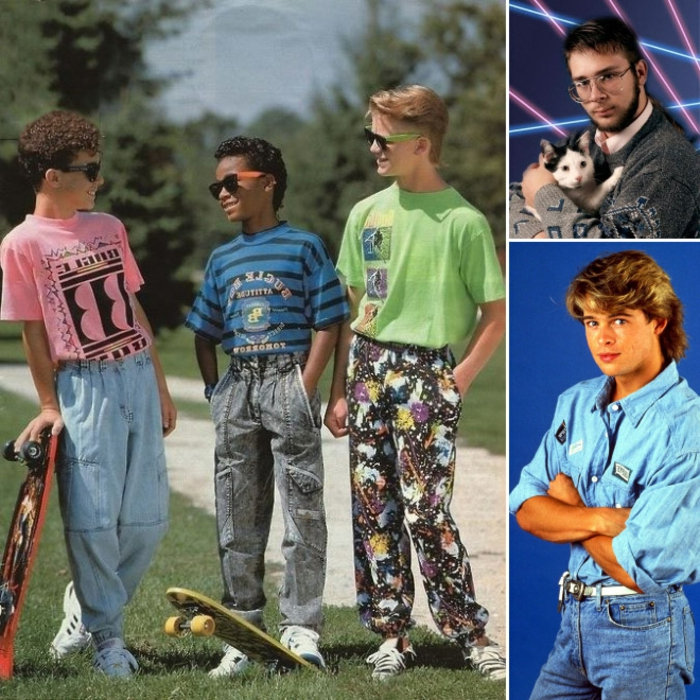 photo of three boys with skateboards, wearing pink green and blue t-shirts with prints, baggy jeans and colorful trousers, a photo of young brad pitt and a man with glasses holding a cat
