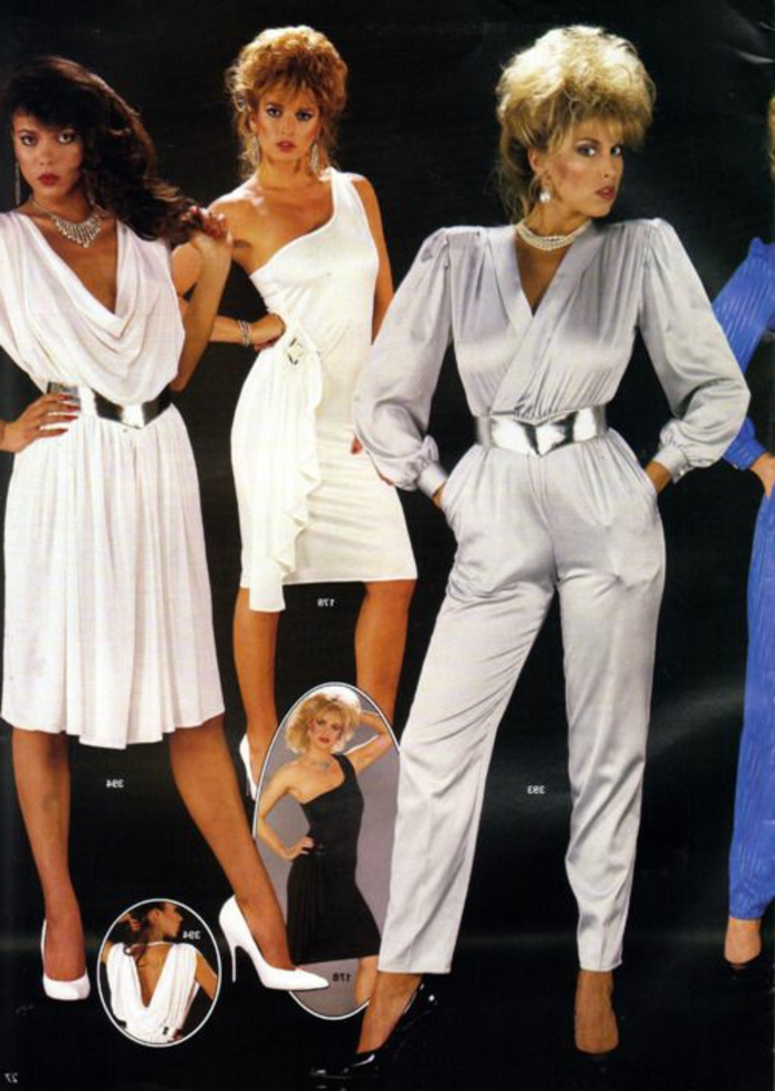 throwback outfits, brunette woman wearing flowing knee-length white dress with silver belt, blonde short-haired woman wearing one shouldered white dress, another blonde short-haired woman wearing 80s shiny bodysuit