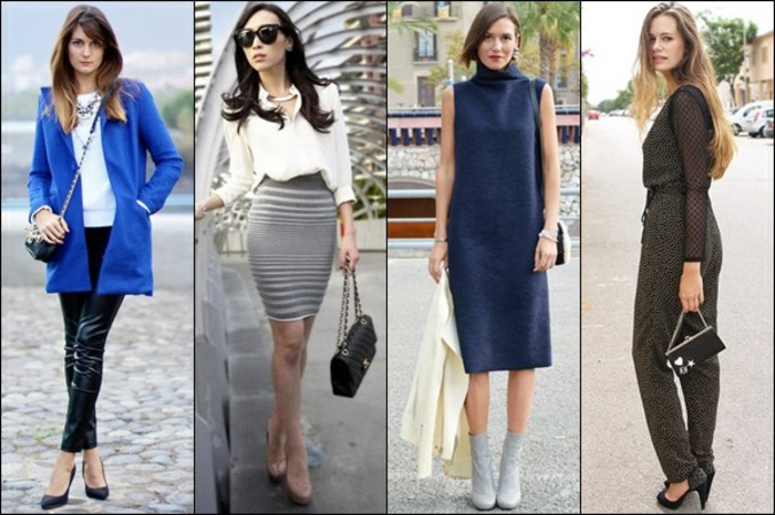 interview outfits for women, four business ladies, wearing bright blue blazer, mini skirt and shirt, knee-length dress and grayish jumpsuit