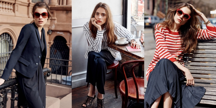 business casual for women, three smartly dressed women, business suit and sunglasses, striped shirt and trousers, skirt and sweater