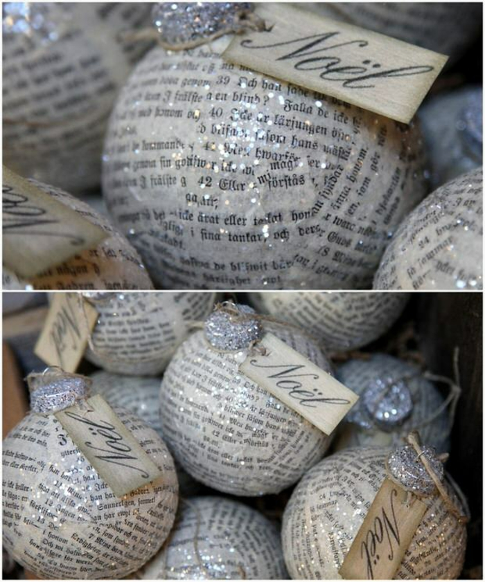 cheap christmas gift ideas, many xmas tree ornaments, decorated with glitter and newspapers, and featuring a tag that reads noel
