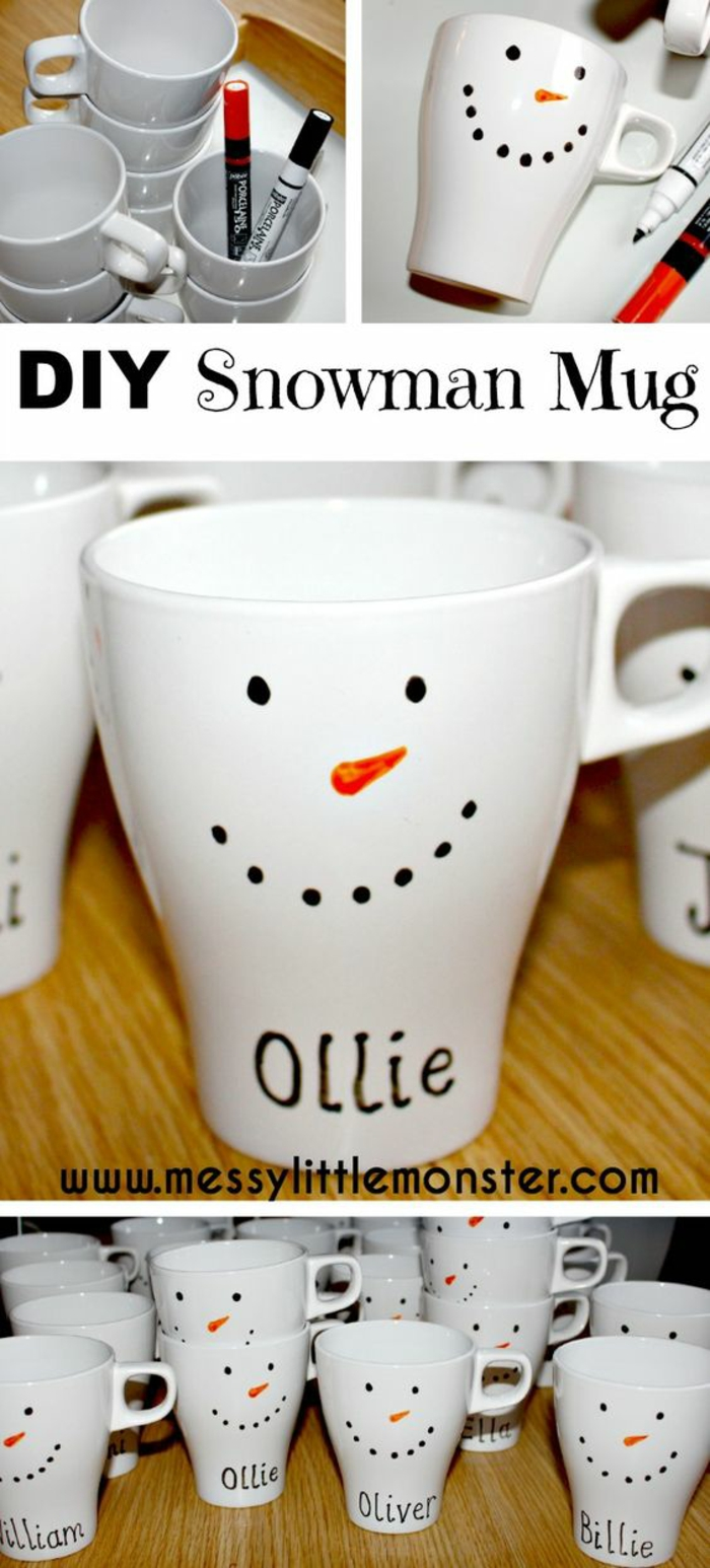 many plain white ceramic mugs, two permanent markers in orange and black, simple snowman's face drawn on mugs, name written on each mug