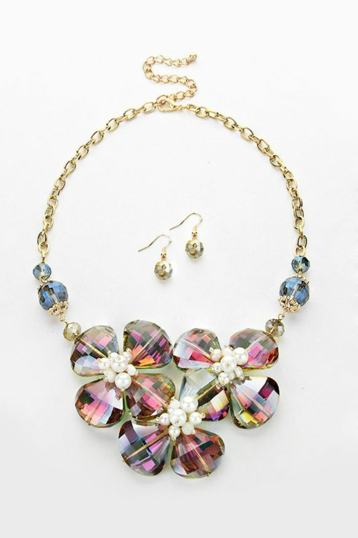 big golden necklace, featuring large flowers made of shiny stones in pink, yellow and purple with blue and clear beads and pearl details, two matching earrings