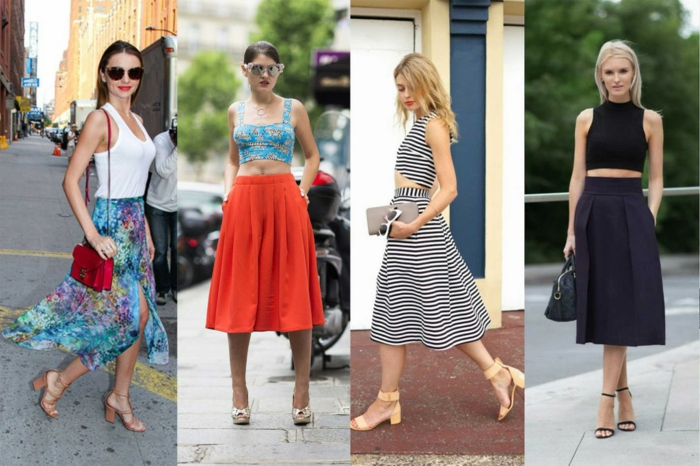 four women in summer outfits, floral floaty skirt and white top, midi pleated skirt and crop top, coordinated skirt and crop top in white and black stripe and solid black