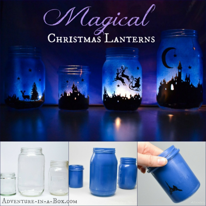 xmas gifts, four lanterns made from mason jars painted in dark blue and black, with lit candles inside, three clear jars of various sizes, painted dark blue, a hand holding a painted jar