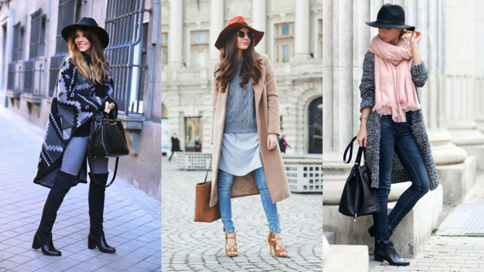 three women with big felt hats in black and red, differently colored skinny jeans, large scarves cardigan and sweater