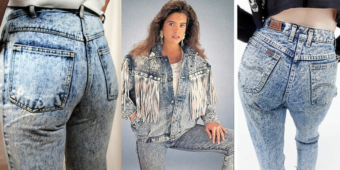 acid wash jeans close up of back pockets, photo of girl with feathery chestnut hair, wearing acid-wash jeans white t-shirt and denim jacket with studs and tassels
