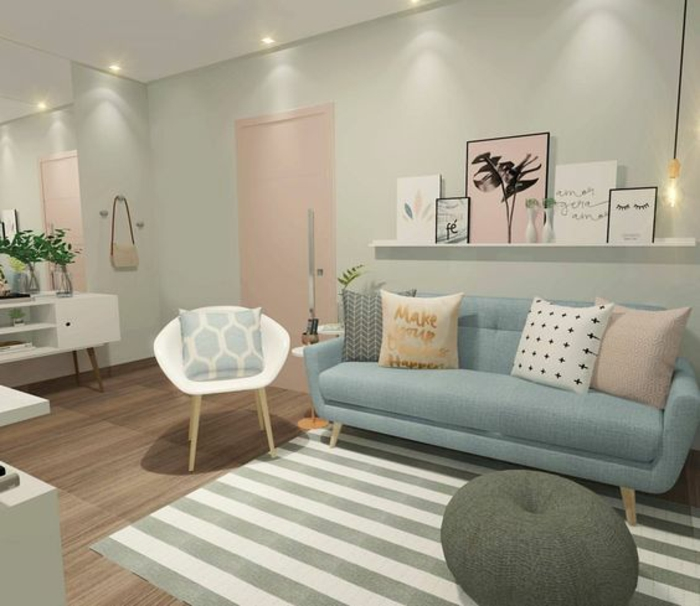 neutral colors, pale pastel duck's egg walls, large mirror and white ceiling, pastel pink door pillow and painting, white chair and white and grey striped rug, pastel blue sofa with four pillows