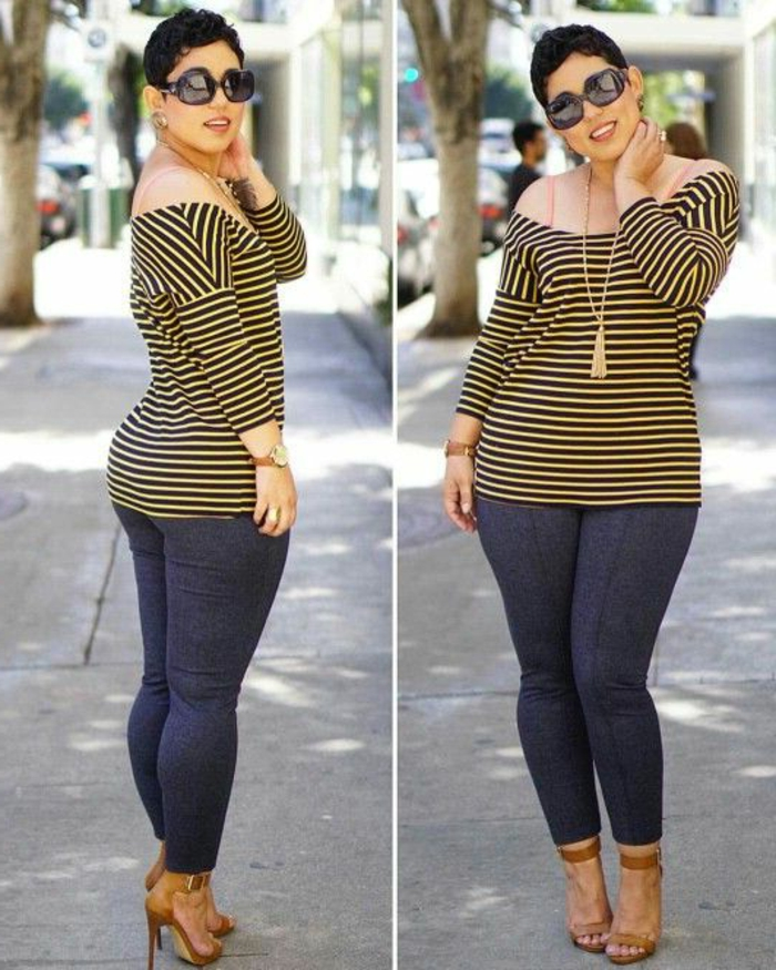 two images of a curvy woman with short hair, wearing a yellow and black striped top, skinny jeans in indigo and brown high-heeled sandals, golden pendant and sunglasses