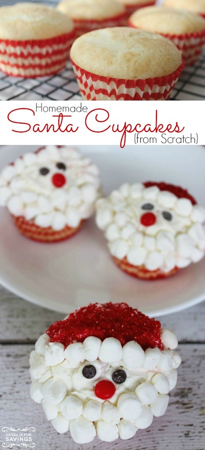 several plain cupcakes in red and white wrappers, three cupcakes decorated with white icing, small marshmallows and red sprinkles, and made to look like santa