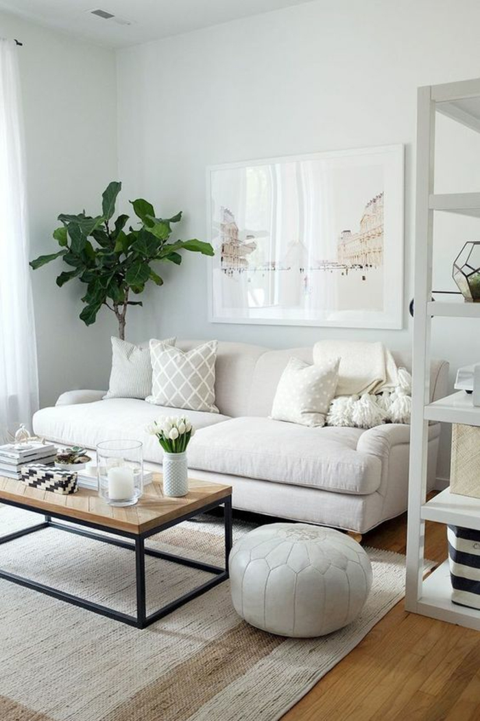 neutral colors, room with pale walls, white sofa and display shelf, light colored pillows and pale wood table with black metal legs, cream colored rug, wooden floors
