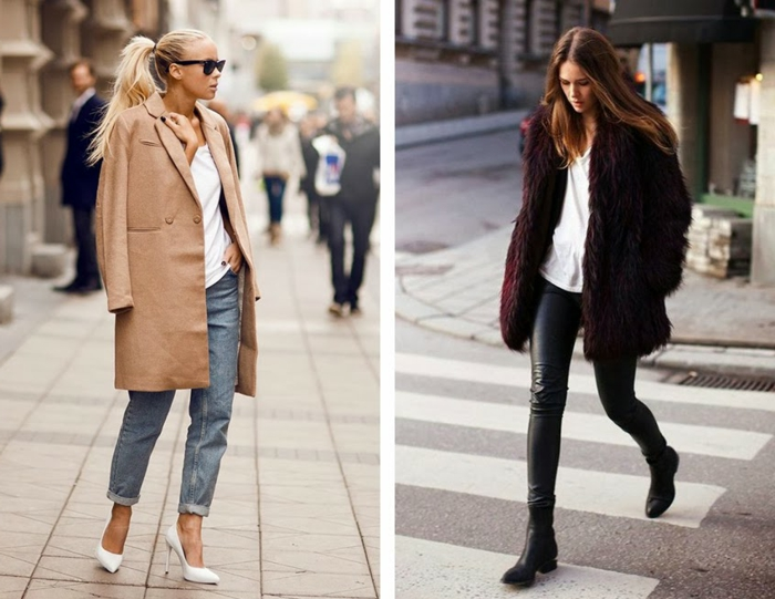 women's business attire, blonde woman with big camel brown coat over jeans and t-shirt, brunette with black leather pants and large purple coat