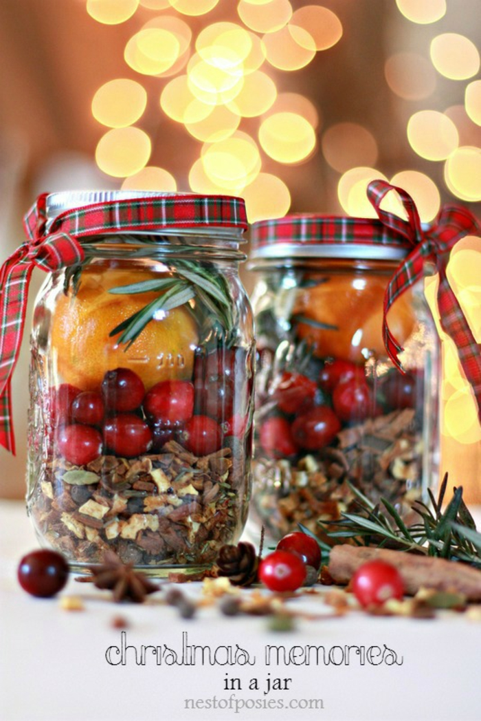 xmas gifts, two clear mason jars, screw-top lids tied with tartan ribbons, containing oranges cinnamon cranberries nutmeg pine needles, star anise and cranberries in foreground blurred background