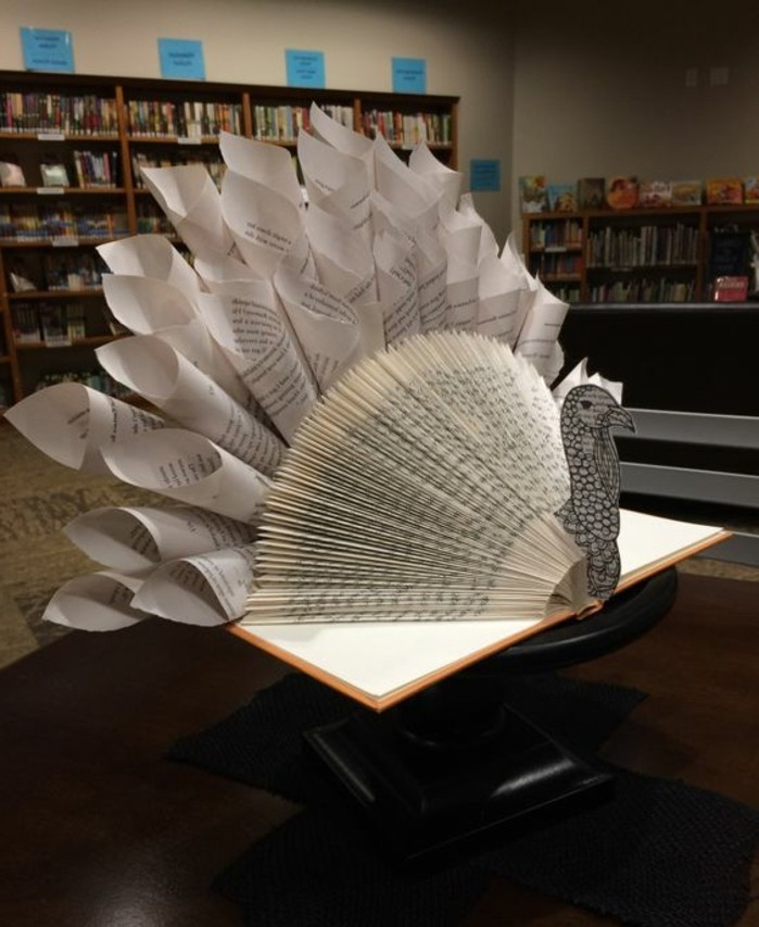 book folding, turkey decoration made from open book, with folded pages, decorated with paper cutouts, and twisted paper cones