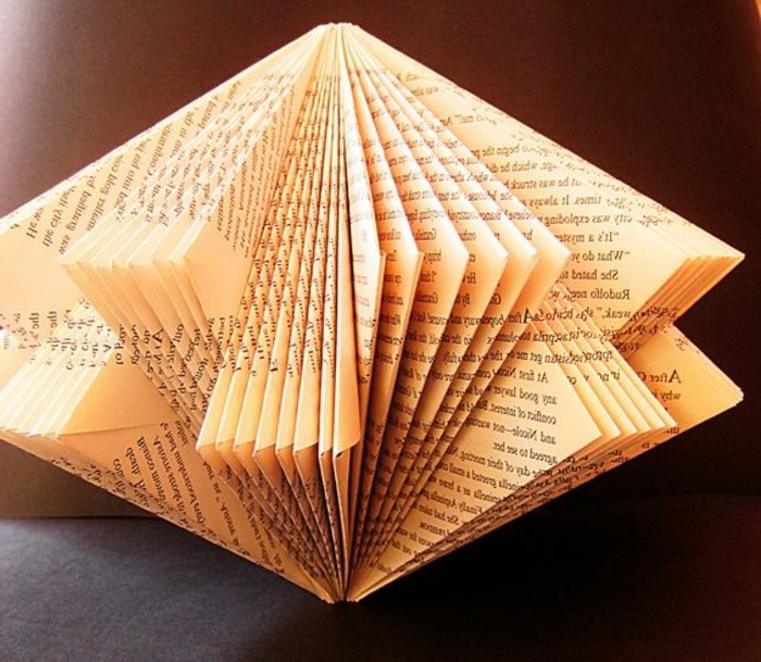 lantern-like shape, made from cut, and geometrically folded vintage book pages