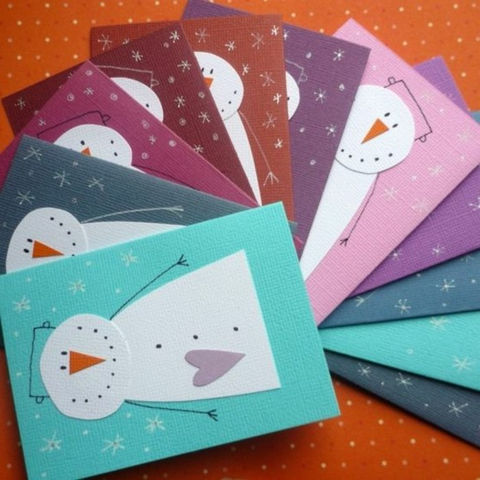 cool things to make at home, eleven cards made from cardboard in different colors, each decorated with snowman collage
