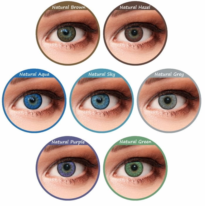eye color chart, seven eyes with differently colored irises, each inscribed with the name of the specific shade