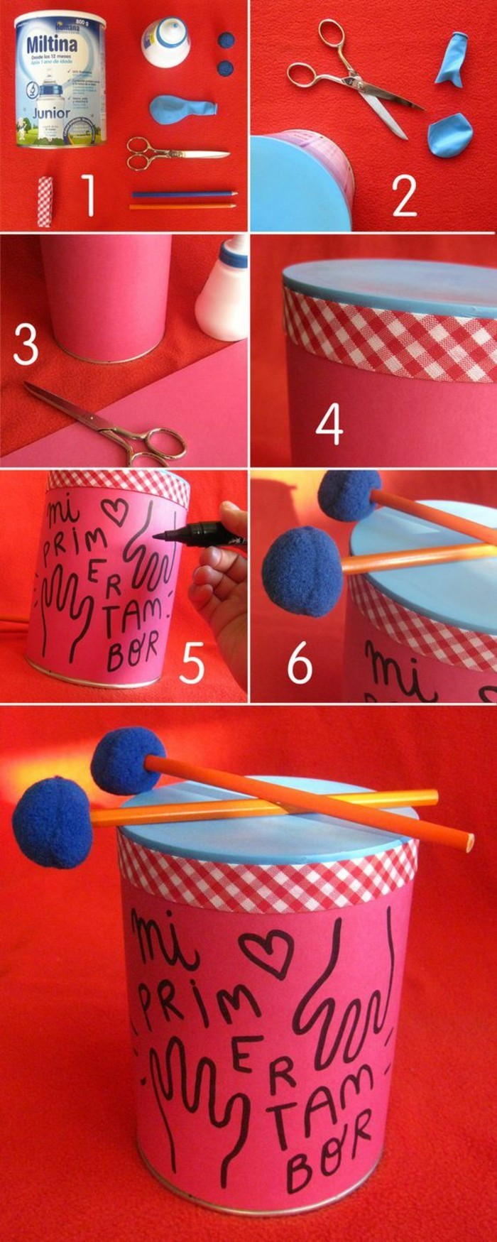tin cans for crafts, toy drum made from large tin, covered with a piece of balloon, decorated with red paper, covered in writing and drawings