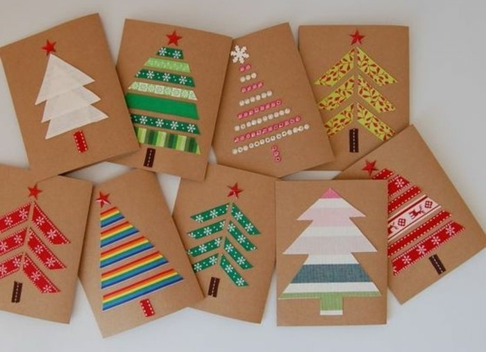 diys for your room, nine cards made from brown cardboard, decorated with christmas tree shapes, made with beads and washi tape in different colors
