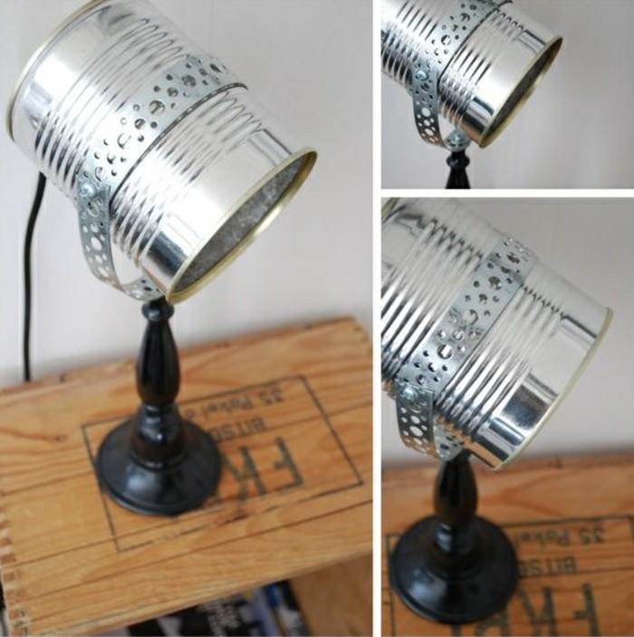 tin cans, small projector desk lamp made from aluminium can, with black wooden stand and metal details