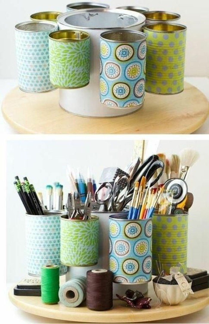 tin can projects, stationary organizer made from several tins, all decorated with different pieces of multicolored patterned paper, containing different stationary