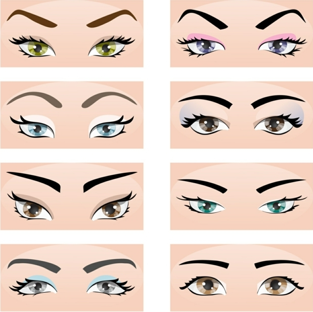 eye color chart, eight drawings of differently shaped and colored eyes, with various eyebrows and make-up