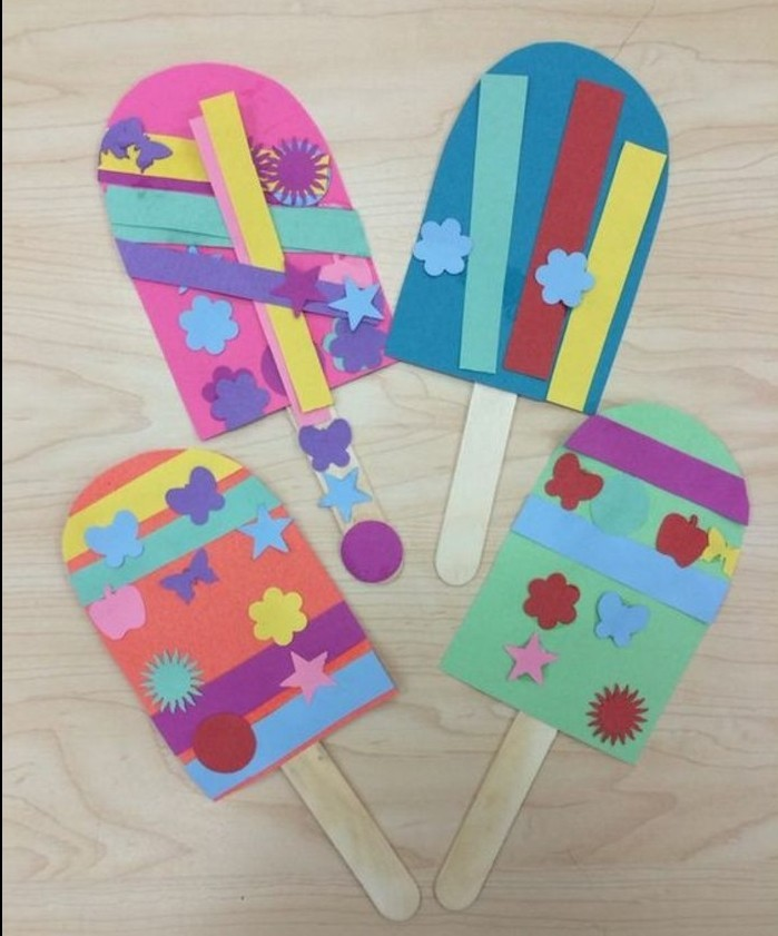 fun art projects, four ice creams made from colorful paper, decorated with multicolored cutouts, attached to ice cream sticks