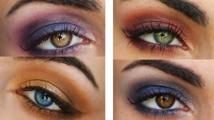 hazel eyes, four differently colored eyes, blue and green, light and dark brown, with bold make up in violet, red orange and blue